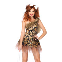 Leg Avenue Women's Cave Girl Dress and Bone Head Piece | Overstock.com