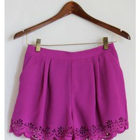 Fuchsia Flower Lace Shorts