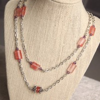Cherry Quartz and Amethyst Silver Necklace  Long Strand   peaceloveandallthingsjewelry - Jewelry on ArtFire