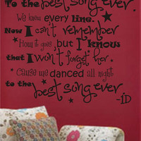 "Sale NEW ONE DIRECTION Song Vinyl wall decal - ""The best song ever"" lyrics"