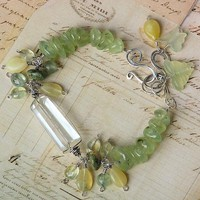 Quartz Crystal Prehnite Artisan Gemstone Bracelet, Sterling Silver | OwlHollowStudio - Jewelry on ArtFire