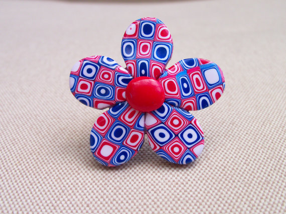 Polymer Clay Ring Retro red white and blue by FlowertownOriginals