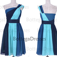 Knee Length One Shoulder Chiffon Blue Short Prom Dresses, Cocktail Dresses, Wedding Party Dresses, Blue Bridesmaid Dresses