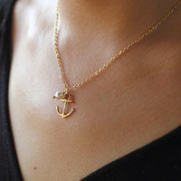 Gold Necklace, Gold Anchor Necklace With Pearl