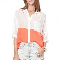 Pastel Colorblock Blouse in Coral - ShopSosie.com