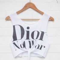 Dior Not War Tied Crop Top White