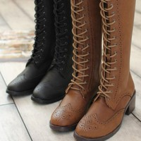 Women's Vintage Lace Up Knee High Boots