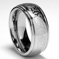 7MM Stainless Steel Ring With Engraved Florentine Design Size 7