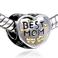 Mothers Day Gifts Heart Best Mom Charm Beads Fit Pandora Charms & Beads