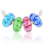 Bling Jewelry 925 Sterling Silver 4 Swirl Murano Glass Bead Compatible with Pandora Chamilia Troll Charm