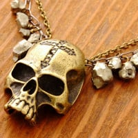 Scull Necklace - antique brass scull, halloween jewelry, halloween necklace, scull pendant, pyrite necklace, halloween party, spooky jewelry