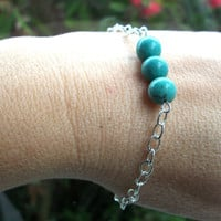 Turquoise chain bracelet, silver chain with bead bar of round turquoise gemstone beads