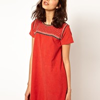 Paul And Joe Sister Shift Dress In Corduroy With Embellishment at asos.com