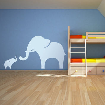 Mama and Baby Elephant Wall Decal Vinyl by WallumsWallDecals
