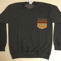 Unisex Custom Patch Pocket Crew Neck Sweatshirt- Orange Striped Navajo Print from EEHCUOY