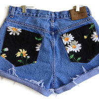 Daisy Pocket High Waisted Denim Shorts Hipster by shortyshorts