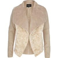Cream shearling panel waterfall biker jacket - biker jackets - coats / jackets - women