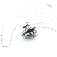 Swan Necklace, Nature, Romantic Jewelry, Sterling Silver, Pendant