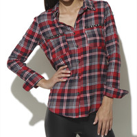 Plaid Shirt With Studded Pockets | Shop Tops at Wet Seal
