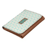 vintage pattern mint  personalized initial wallet