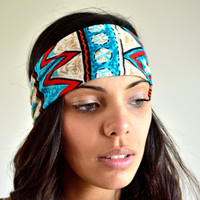 Aztec Tribal Cotton Headband Hair Wrap