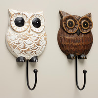 Wood Owl Hooks, Set of 2 - World Market