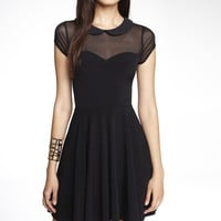 PETER PAN COLLAR FIT AND FLARE DRESS