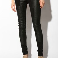 UrbanOutfitters.com > Tripp NYC Leather Patch Skinny Jean - Black