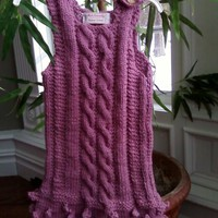 Girls knitted Pink Dress with cables by inspirebynancy on Etsy