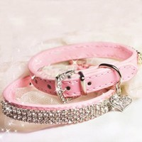 "SKL Hot Pink Pet Collar with Sparkly Rhinestones for Cats or Dogs (7.87"" - 10.43""):Amazon:Pet Supplies"