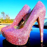 High Heeled Custom Bling Detail Shoes