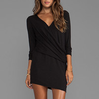 Heather Long Sleeve V Tuck Dress in Black from REVOLVEclothing.com