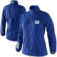 Nike New York Giants Ladies Extra Point Full Zip Windbreaker Jacket - Royal Blue