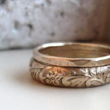 Handmade Earthy Gold Stacking Wedding Rings by tinahdee on Etsy