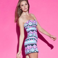 Lipsy Neon Tribal Bandeau Dress - Lipsy