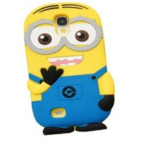 BYG 3D Light blue Despicable Me Minions Henchmen Soft Silicone Case Skin Protective Cover for Samsung Galaxy S4 I9500 (binoculus) + Gift 1pcs Phone Radiation Protection Sticker