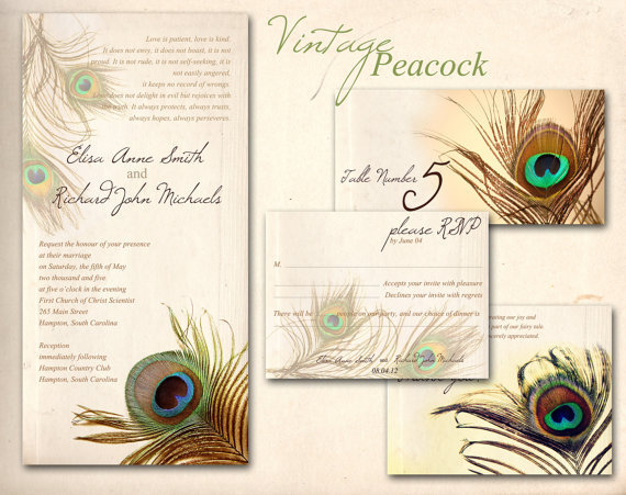 Peacock feather invitation template - photo#22