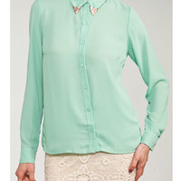 Mint Gold Collared Tip Button Down Blouse