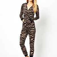 South Beach Georgia Super Soft Zebra Print Onesuit at asos.com