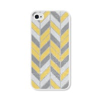 Mustard Yellow and Grey Herringbone Chevron iPhone 5 Case / iPhone 5s Case