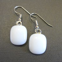 Fused Glass Drop Earrings - Ballet Shoes - 1414