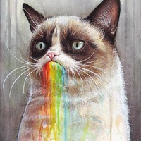 """Grumpy Cat Tastes The Rainbow"" - Art Print by Olga Shvartsur"