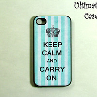iphone 4s case   Keep Calm Blue Stripes by ultimatecases on Etsy