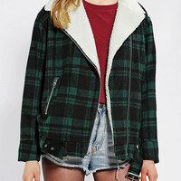 byCORPUS Oversized Plaid Moto Jacket