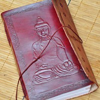 Buddha Leather Embossed Journal | WithAnIndianTouch - Paper/Books on ArtFire