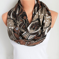 ON SALE Infinity Scarf - Loop Scarf - Circle Scarf - Brown Scarf - Cotton scaf Cowl Scarf