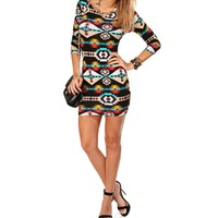 Black/Teal Tribal Dress