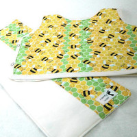 Bib and Burp Gift Set Bumble Bee Yellow and Green by maddywear