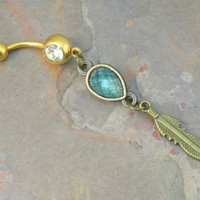 Gold Belly Button Jewelry with Turquoise Gem and Gold Feather