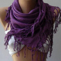 Purple Silk Shawl / Scarf Pareo by womann on Etsy